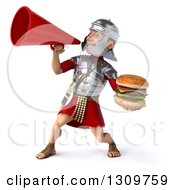 Clipart Of A 3d Young Male Roman Legionary Soldier Holding A Double Cheeseburger And Announcing To The Left With A Megaphone Royalty Free Illustration