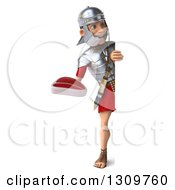 Clipart Of A 3d Full Length Young Male Roman Legionary Soldier Holding A Beef Steak Around A Sign Royalty Free Illustration