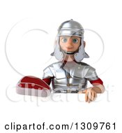 Clipart Of A 3d Young Male Roman Legionary Soldier Holding A Beef Steak Over A Sign Royalty Free Illustration