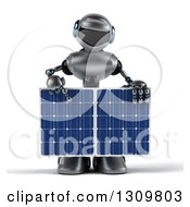 Clipart Of A 3d Silver Male Techno Robot Holding And Pointing Down To A Solar Panel Royalty Free Illustration by Julos