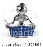 Clipart Of A 3d Silver Male Techno Robot Looking Up Holding A Solar Panel And A Thumb Royalty Free Illustration by Julos