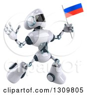 Clipart Of A 3d White And Blue Robot Jumping And Holding A Russian Flag 2 Royalty Free Illustration