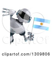 Clipart Of A 3d White And Blue Robot Holding An Argentine Flag Around A Sign Royalty Free Illustration