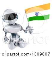 Clipart Of A 3d White And Blue Robot Holding Up An Indian Flag Royalty Free Illustration