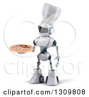 Clipart Of A 3d White And Blue Robot Chef Holding And Looking At A Pizza Royalty Free Illustration