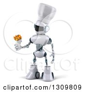 Clipart Of A 3d White And Blue Robot Chef Holding And Looking At French Fries Royalty Free Illustration