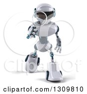 Clipart Of A 3d White And Blue Robot Walking And Searching With A Magnifying Glass Royalty Free Illustration
