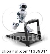 Clipart Of A 3d White And Blue Robot Facing Slightly Right And Running On A Treadmill 2 Royalty Free Illustration