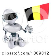 Clipart Of A 3d White And Blue Robot Looking Up And Holding A Belgian Flag Royalty Free Illustration