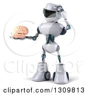 Clipart Of A 3d White And Blue Robot Facing Slightly Left Thinking And Holding A Brain Royalty Free Illustration