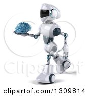 Clipart Of A 3d White And Blue Robot Walking To The Left And Holding A Glass Brain Royalty Free Illustration by Julos