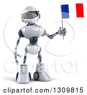 Clipart Of A 3d White And Blue Robot Holding A French Flag Royalty Free Illustration