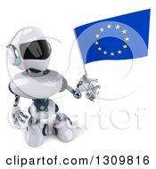 Clipart Of A 3d White And Blue Robot Holding Up And Looking At A European Flag Royalty Free Illustration