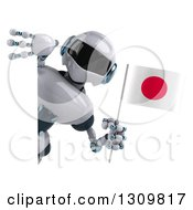 Clipart Of A 3d White And Blue Robot Holding A Japanese Flag Around A Sign Royalty Free Illustration