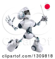 Clipart Of A 3d White And Blue Robot Jumping And Holding A Japanese Flag Royalty Free Illustration