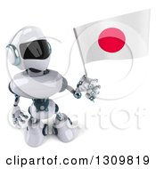 Clipart Of A 3d White And Blue Robot Holding Up A Japanese Flag Royalty Free Illustration