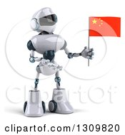 Clipart Of A 3d White And Blue Robot Holding And Presenting A Chinese Flag Royalty Free Illustration