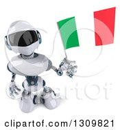 Clipart Of A 3d White And Blue Robot Holding Up An Italian Flag Royalty Free Illustration
