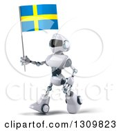 Clipart Of A 3d White And Blue Robot Walking Slightly Left And Holding A Sweden Flag Royalty Free Illustration