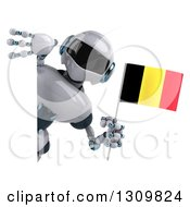 Clipart Of A 3d White And Blue Robot Holding A Belgian Flag Around A Sign Royalty Free Illustration