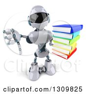Clipart Of A 3d White And Blue Robot Holding Up A Stack Of Books And Thumb Down Royalty Free Illustration