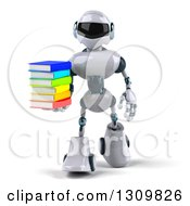 Clipart Of A 3d White And Blue Robot Walking With A Stack Of Books Royalty Free Illustration