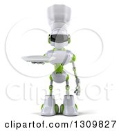 Clipart Of A 3d White And Green Robot Chef Holding A Plate Royalty Free Illustration