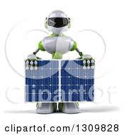 Clipart Of A 3d White And Green Robot Holding A Solar Panel Royalty Free Illustration