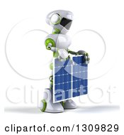 Clipart Of A 3d White And Green Robot Facing Right And Holding A Solar Panel Royalty Free Illustration