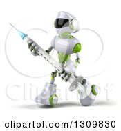 Clipart Of A 3d White And Green Robot Walking To The Left And Carrying A Giant Vaccine Syringe Royalty Free Illustration