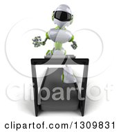 Clipart Of A 3d White And Green Robot Sprinting On A Treadmill Royalty Free Illustration