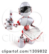 Clipart Of A 3d White And Red Robot Giving A Thumb Up And Holding An Open Book Royalty Free Illustration