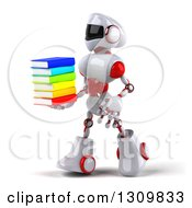 Clipart Of A 3d White And Red Robot Walking To The Left And Holding A Stack Of Books Royalty Free Illustration