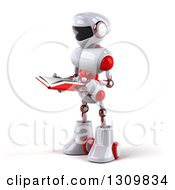 Clipart Of A 3d White And Red Robot Facing Left And Reading A Book Royalty Free Illustration