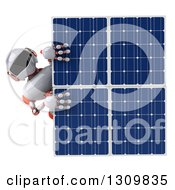 Clipart Of A 3d White And Orange Robot Looking Around A Solar Panel Royalty Free Illustration by Julos