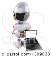 Clipart Of A 3d White And Orange Robot Holding Up And Pointing To A Laptop Computer Screen Royalty Free Illustration