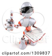 Clipart Of A 3d White And Orange Robot Holding Up A Thumb And An Open Book Royalty Free Illustration
