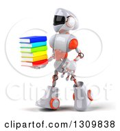 Clipart Of A 3d White And Orange Robot Walking To The Left With A Stack Of Books Royalty Free Illustration