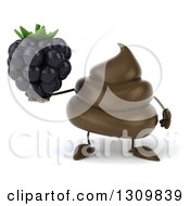 Clipart Of A 3d Milk Chocolate Or Poop Character Holding A Blackberry Royalty Free Illustration