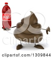Clipart Of A 3d Milk Chocolate Or Poop Character Giving A Thumb Down And Holding A Soda Bottle Royalty Free Illustration