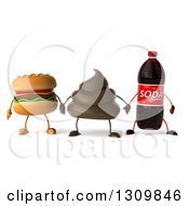 Clipart Of A 3d Milk Chocolate Or Poop Character Holding Hands With A Soda Bottle And Cheeseburger Royalty Free Illustration by Julos