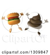 Clipart Of A 3d Milk Chocolate Or Poop Character Jumping With A Cheeseburger Royalty Free Illustration by Julos