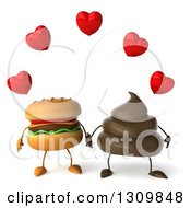 Clipart Of A 3d Milk Chocolate Or Poop Character Holding Hands With A Cheeseburger Under Hearts Royalty Free Illustration by Julos