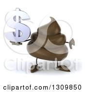 Clipart Of A 3d Milk Chocolate Or Poop Character Holding A Dollar Symbol And Thumb Down Royalty Free Illustration by Julos