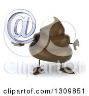 Clipart Of A 3d Milk Chocolate Or Poop Character Holding A Thumb Down And Email Arobase At Symbol Royalty Free Illustration by Julos