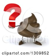 Clipart Of A 3d Milk Chocolate Or Poop Character Holding And Pointing To A Question Mark Royalty Free Illustration by Julos