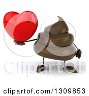Clipart Of A 3d Milk Chocolate Or Poop Character Holding A Red Love Heart Royalty Free Illustration by Julos