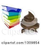 Clipart Of A 3d Milk Chocolate Or Poop Character Holding Up A Stack Of Books Royalty Free Illustration by Julos
