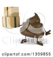 Clipart Of A 3d Milk Chocolate Or Poop Character Shrugging And Holding Boxes Royalty Free Illustration by Julos