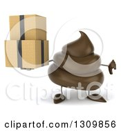 Clipart Of A 3d Milk Chocolate Or Poop Character Holding A Thumb Down And Boxes Royalty Free Illustration by Julos